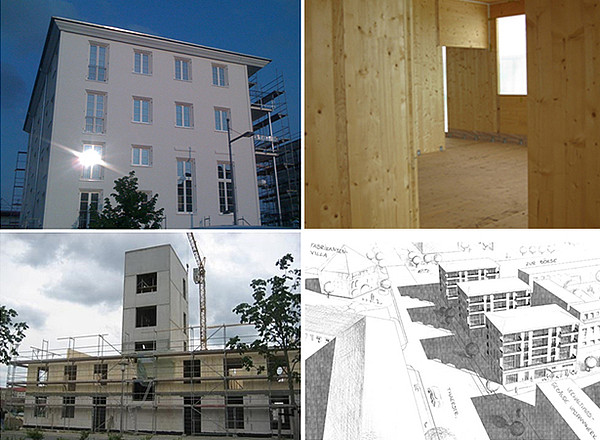 Passive house, wood construction, prefab concrete stairwell, urban development area (www.muellersbuero.com)